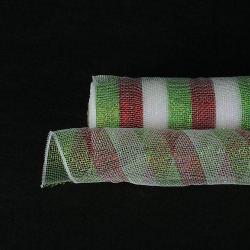 Red Green - Poly Deco Mesh Wrap with Laser Mono Stripe -  ( 21 Inch x 10 Yards )