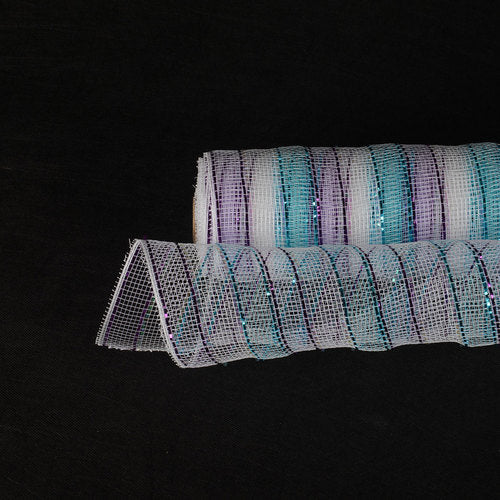 Little Mermaid - Poly Deco Mesh Wrap with Laser Mono Stripe -  ( 21 Inch x 10 Yards )