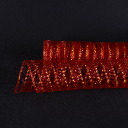 21 Inch x 10 Yards Red Deco Mesh Eyelash Metallic Design