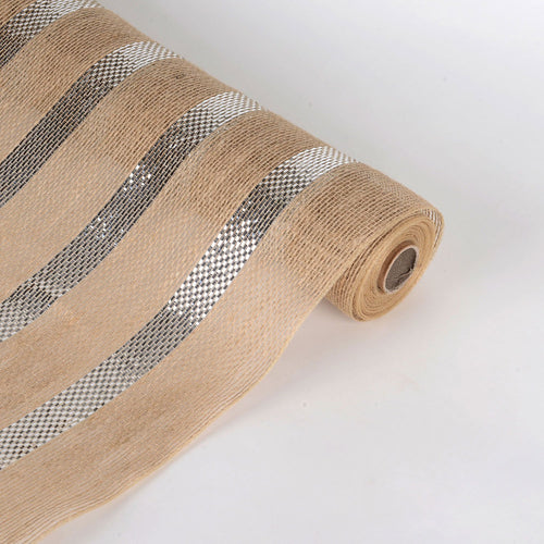 Silver  - Natural Burlap Metallic Stripes Mesh -  ( 21 Inch x 6 Yards )