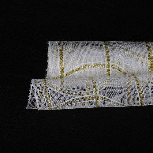 White  - Poly Deco Xmas Check Mesh Metallic Stripe -  ( 10 Inch x 10 Yards )