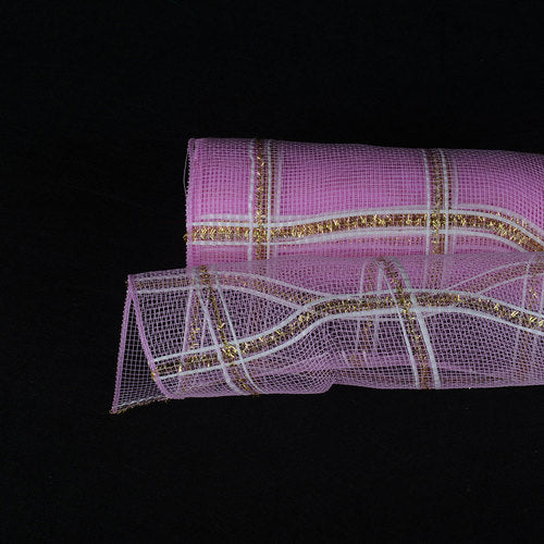 Light Pink  - Poly Deco Xmas Check Mesh Metallic Stripe -  ( 10 Inch x 10 Yards )