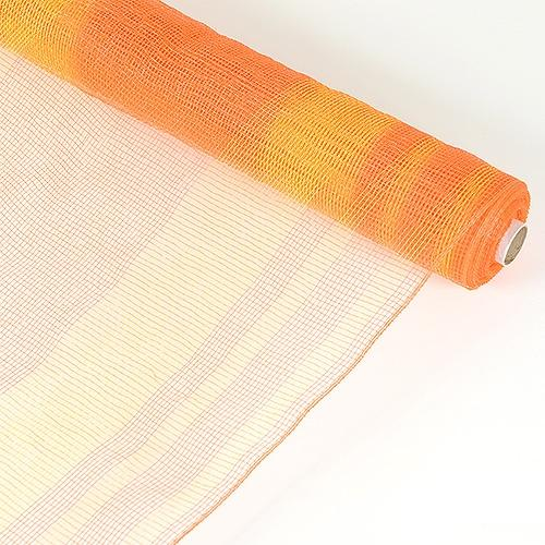 Orange - Deco Mesh Striped Design ( 21 Inch x 10 Yards )