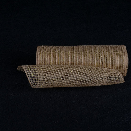 Natural Burlap Christmas Deco Mesh With Gold Metallic Stripes - 10 Inch x 10 Yards