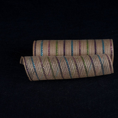Natural Burlap Christmas Deco Mesh With Purple Pink Turquoise Metallic Stripes - 10 Inch x 10 Yards