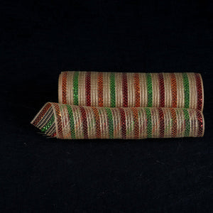 Natural Burlap Christmas Deco Mesh With Red Green Orange Metallic Stripes - 10 Inch x 10 Yards