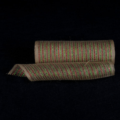 Natural Burlap Christmas Deco Mesh With Green Red Metallic Stripes - 10 Inch x 10 Yards