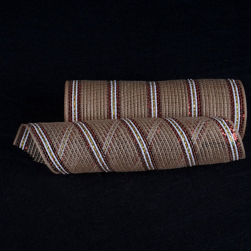 Natural Burlap Deco Mesh With White Red Gold Metallic Stripes - 10 Inch x 10 Yards
