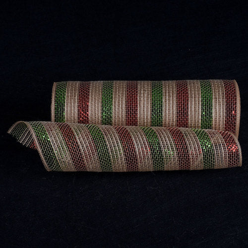 Natural Burlap Deco Mesh With Wider Red Green Metallic Stripes - 10 Inch x 10 Yards