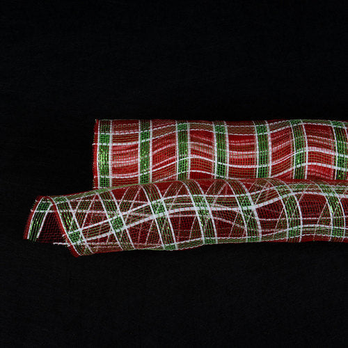 Red With White Line and Green Metallic Stripes - Poly Deco Xmas Check Mesh Metallic Stripe -  ( 21 Inch x 10 Yards )