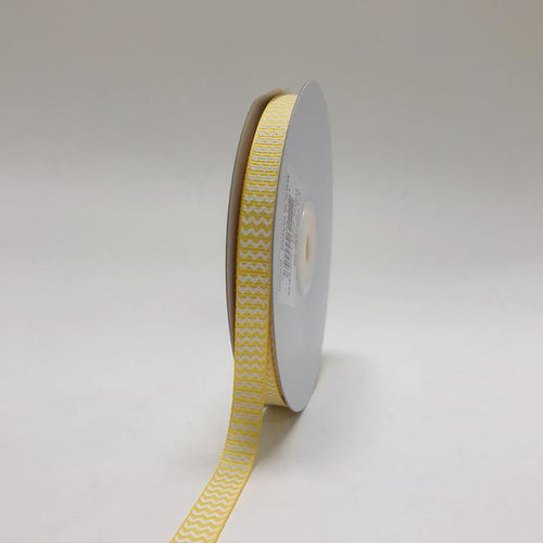 Yellow - Chevron Design Grosgrain Ribbon ( 3/8 inch | 25 Yards )