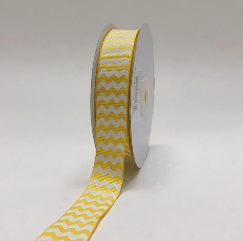 Yellow - Chevron Design Grosgrain Ribbon ( 7/8 inch | 25 Yards )