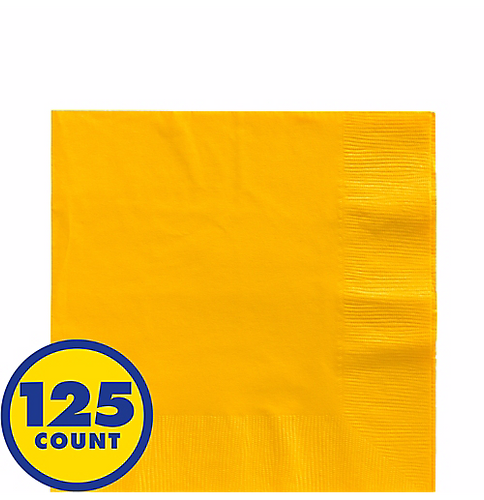 Yellow Big Party Pack Beverage Napkins 125pcs