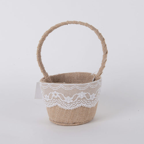 Flower Girl Baskets Burlap ( 9 Inch )