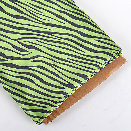 58 inch Apple Green Animal Printed Satin Fabrics