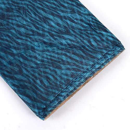 58 inch Turquoise Organza Fabric Animal Printed