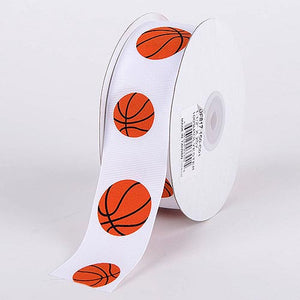 Basketball Grosgrain Ribbon Sports Design - ( W: 3/8 Inch | L: 25 Yards )