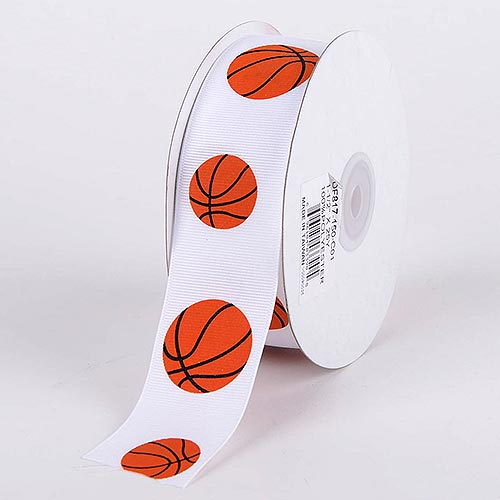 1-1/2 inch Basketball Grosgrain Ribbon Sports Design