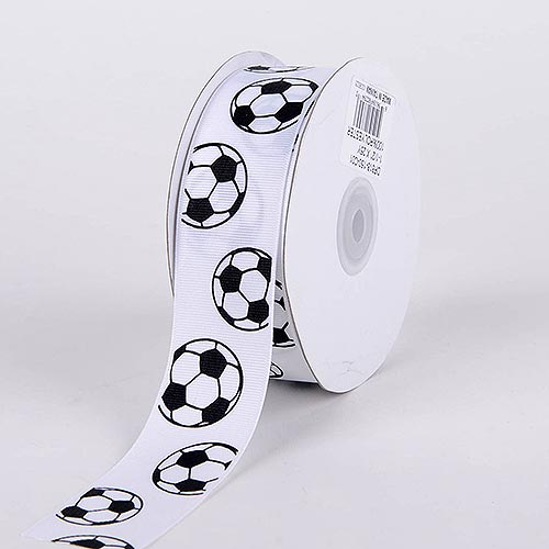 Soccer Grosgrain Ribbon Sports Design - ( W: 3/8 Inch | L: 25 Yards )