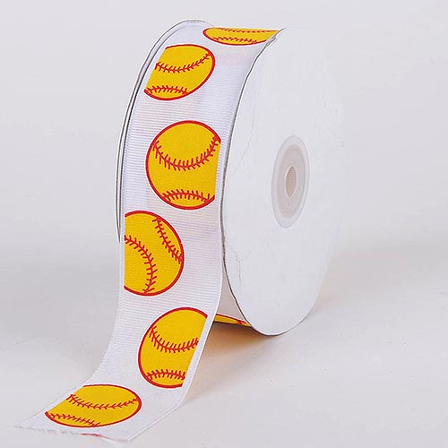 Yellow Baseball Grosgrain Ribbon Sports Design - ( W: 3/8 Inch | L: 25 Yards )