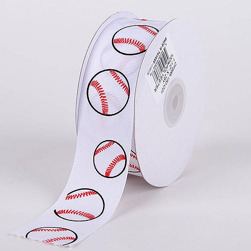 White Baseball Grosgrain Ribbon Sports Design - ( W: 3/8 Inch | L: 25 Yards )