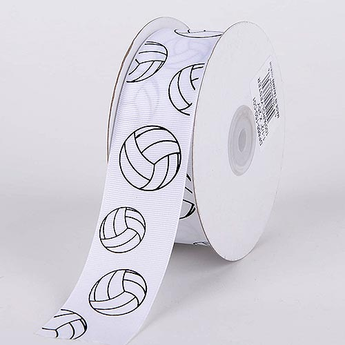 1-1/2 inch Volleyball Grosgrain Ribbon Sports Design