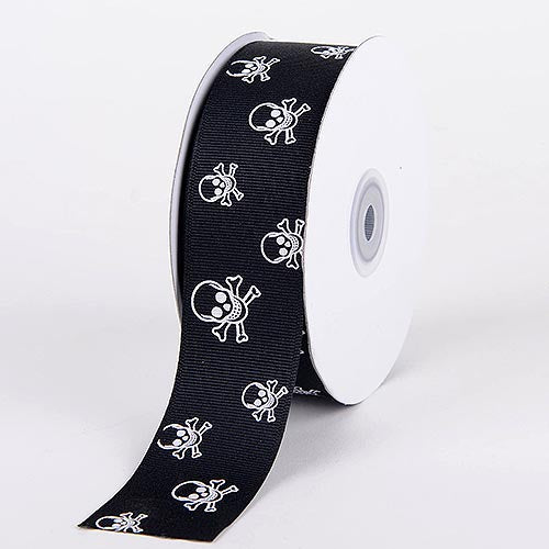 7/8 inch Black with Clear White Skull Grosgrain Ribbon Skull Design