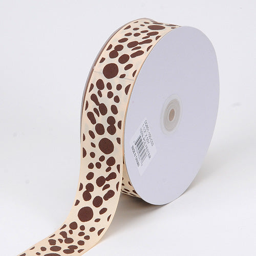 1-1/2 inch Ivory with Brown Dots Grosgrain Ribbon Dalmatian Dots