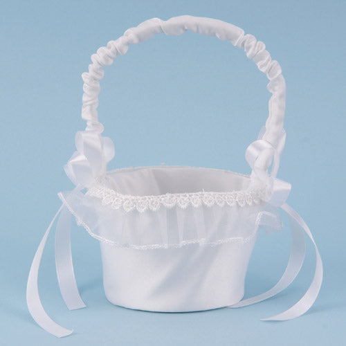 Flower Girl Baskets White ( 7 Inch Tall )