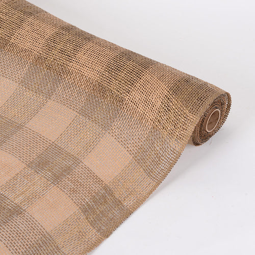 Natural  - Faux Burlap Plaid Mesh -  ( 21 inch x 5 Yards )