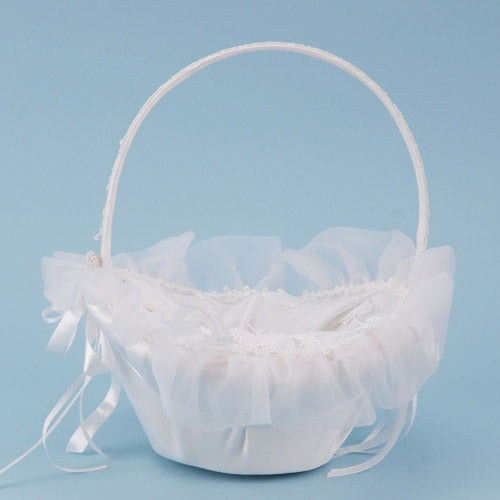 Flower Girl Baskets White ( 10 Inch x 8 Inch )