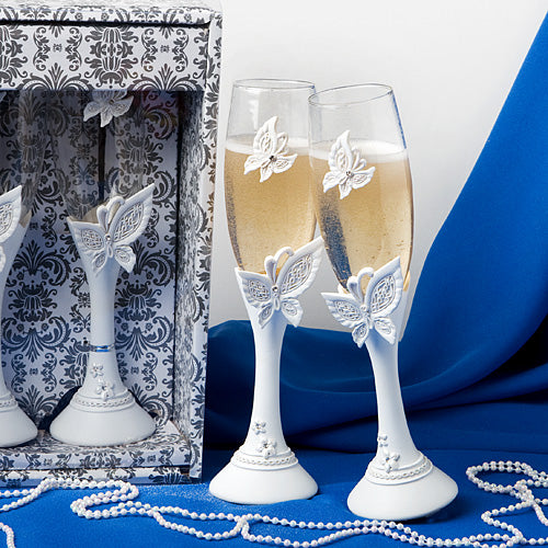 Set of 2 Butterfly design toasting flutes Wedding Toasting Flute