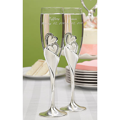 Set of 2 Sparkling Love Flutes Wedding Toasting Flute