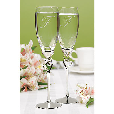 Set of 2 Entwined Hearts Flutes Wedding Toasting Flute