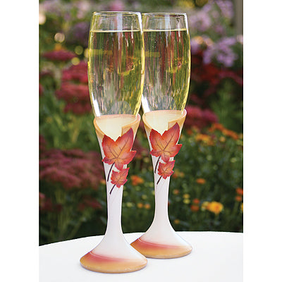 Set of 2 Simply Autumn Flutes Wedding Toasting Flute