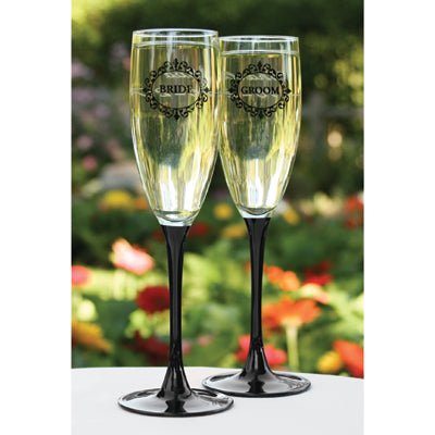 Set of 2 Black Stemmed Bride and Groom Flutes Wedding Toasting Flute