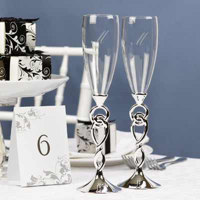 Set of 2 Love Knot Flutes Wedding Toasting Flute