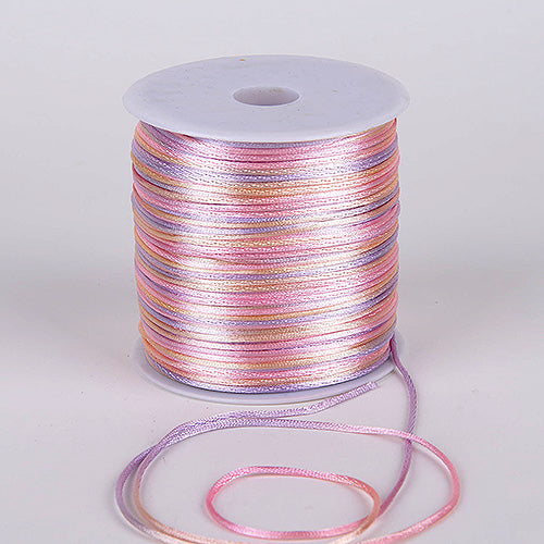 2mm x 100 Yards Multi Color 2mm Satin Rat Tail Cord