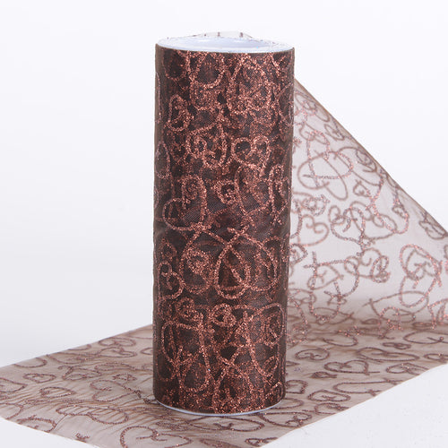 6 inch Chocolate Brown 6 inch Glitter Hearts Organza Roll