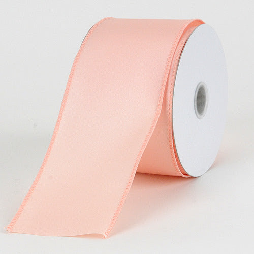 2-1/2 x 10 Yards Blush Satin Ribbon Thick Wired Edge