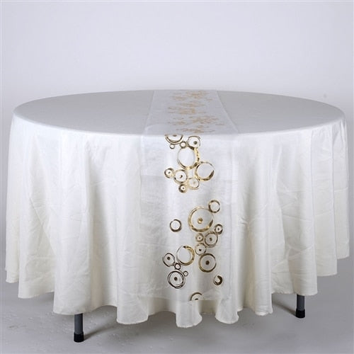 White w/ Gold - 14 x 108 inch Metallic Organza Table Runners