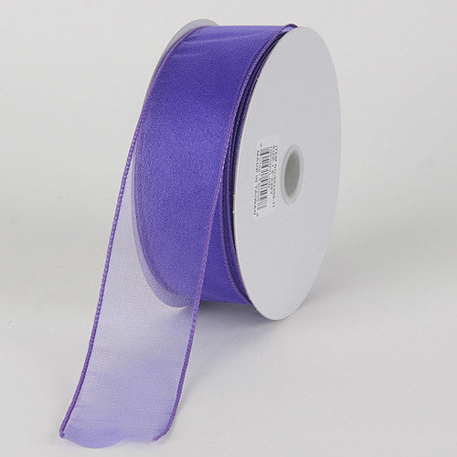Purple - Organza Ribbon Thick Wire Edge 25 Yards - ( 2-1/2 inch | 25 Yards )