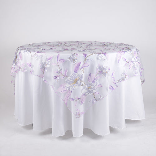 Lavender 72 Inch x 72 Inch Organza with Flower Print Overlay