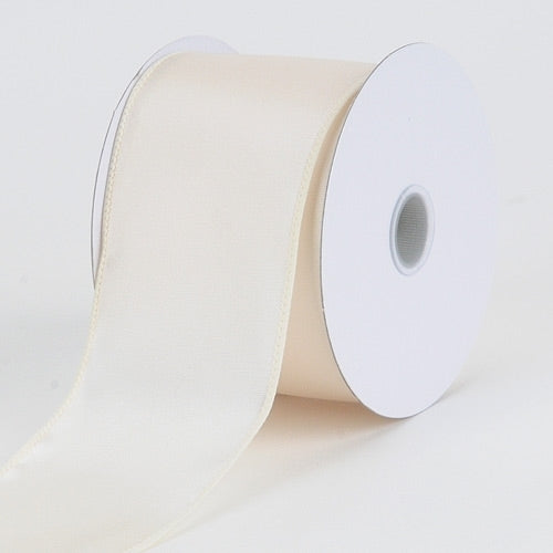 1-1/2 inch x 10 Yards Ivory  Satin Ribbon Thick Wired Edge