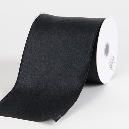 Black - Satin Ribbon 4 Inch Double Faced Wired - ( W: 4 inch | L: 10 Yards )