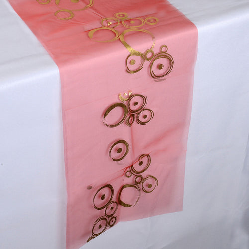 Red w/ Gold - 14 x 108 inch Metallic Organza Table Runners