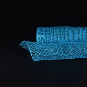 Turquoise Metallic Stripes Christmas Mesh - 21 Inch x 10 Yards