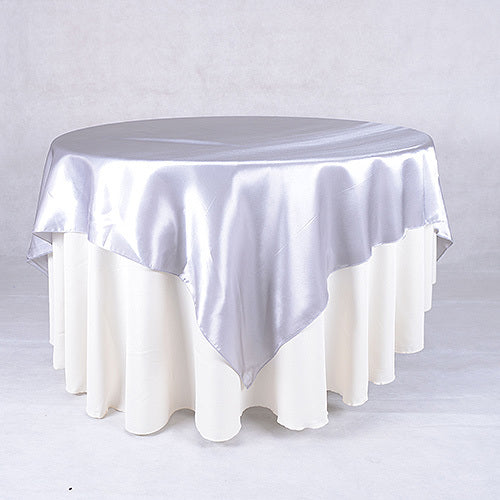 Silver - 90 x 90 Satin Table Overlays - ( 90 Inch x 90 Inch )