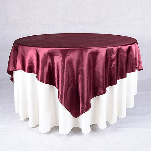 Burgundy - 90 x 90 Satin Table Overlays - ( 90 Inch x 90 Inch )