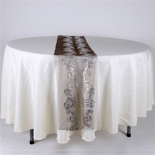 Black w/ Silver - 14 X 108 Inch Metallic Organza Table Runners